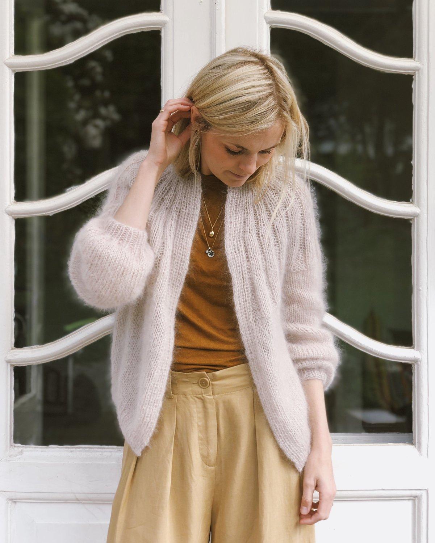 Sunday cardigan Mohair edition by PetiteKnit, silk mohair kit